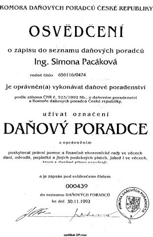 Osvědčení Komory daňových poradců ČR
